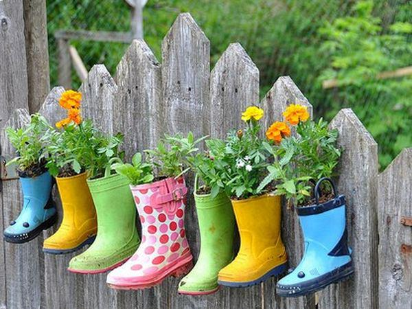 Great use for rain boots. Drill holes in the bottom for drainage, Fill the feet