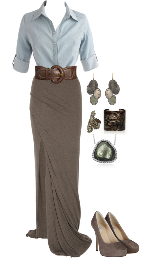 Fall Maxi Skirt Outfit Pinpoint