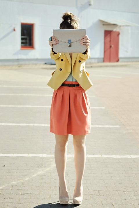 pastel color block outfit