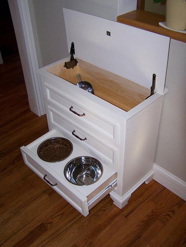 Make from small dresser. Food is kept in top w scoop. Drawers hold all pet suppl