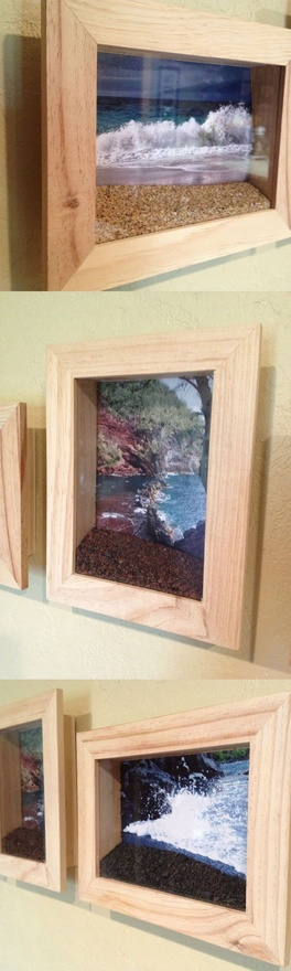 Put a picture of the beach you visited in a shadow box frame and fill the bottom
