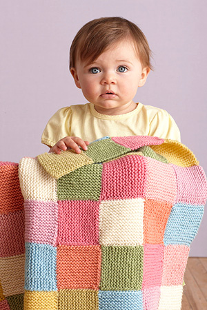 Patchwork Garter Baby Throw, a very easy knit project for the beginner knitter