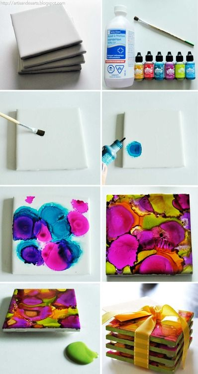 Alcohol-Dyed Coasters! So cool looking!