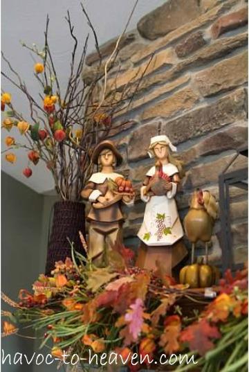 Pilgrims on a Thanksgiving Mantle