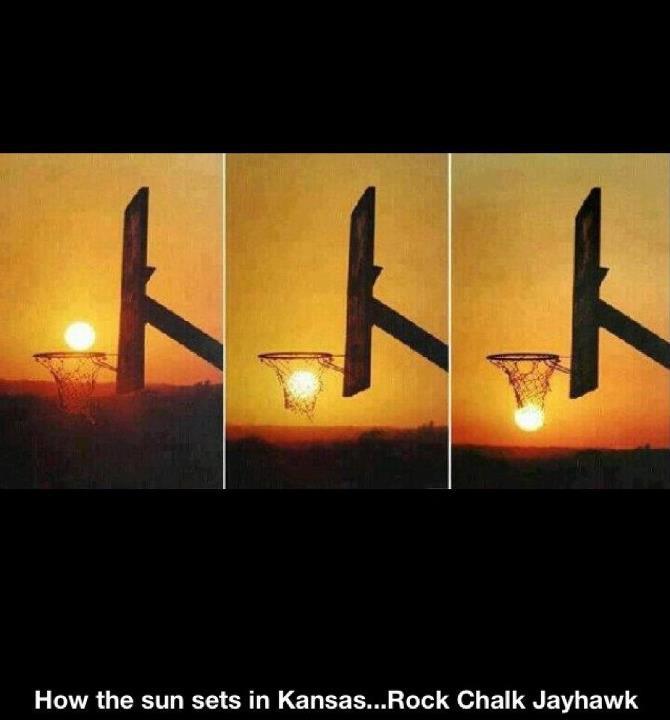 how the sun sets in kansas. rock chalk jayhawk.
