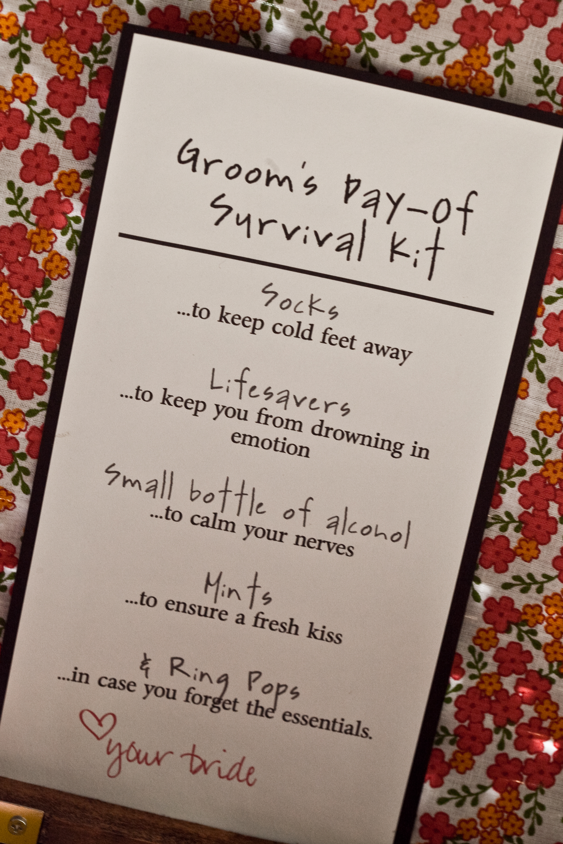 Gift For Bride From Groom Before Wedding : grooms survival kit! PinPoint