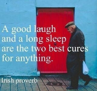 """""""A good laugh and a long sleep are the two best cures for anything."""" –"""