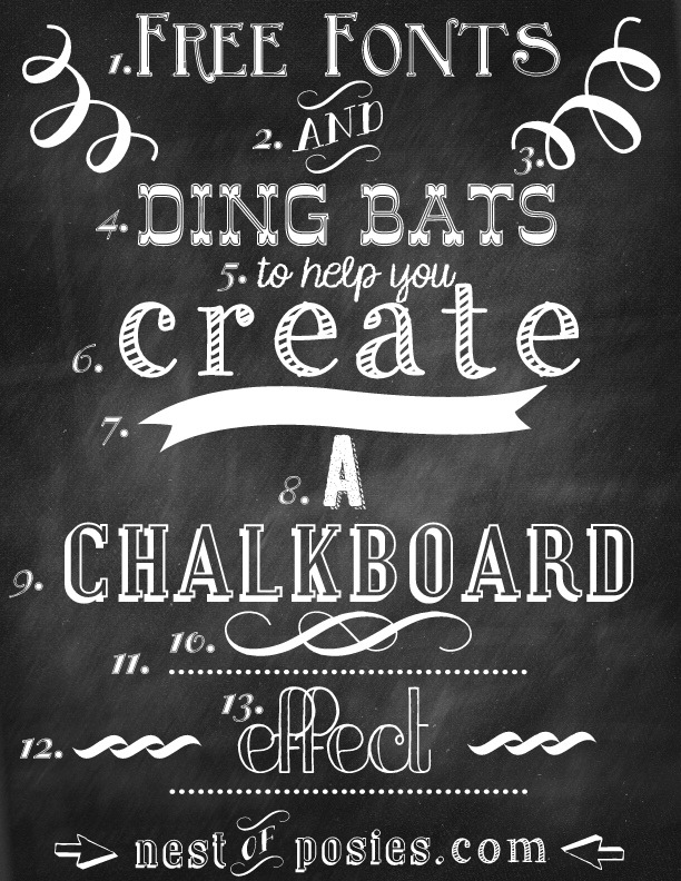 Nest of Posies: Free Chalkboard Fonts & Dingbats – Photoshop NOT required!