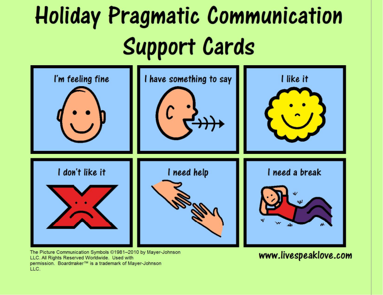 FREE Download – Visual Support for communication, useful during holiday activiti