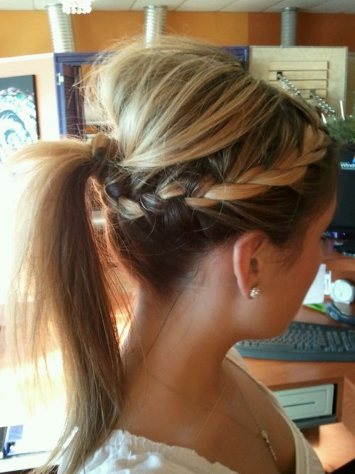 1.Tease the hair at ur crown  clip it up  2.French braid the rest of your hair i
