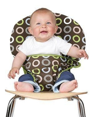 Turn any chair into a baby seat!  Hooks over the back & folds up around your
