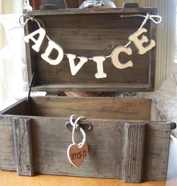 advice box for rustic wedding