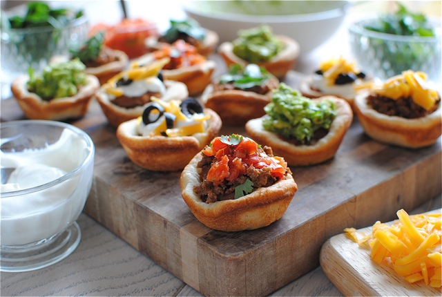 7 Layer Dip Pizza Cups / Bev Cooks