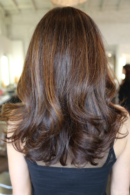 long layers with brunette highlights