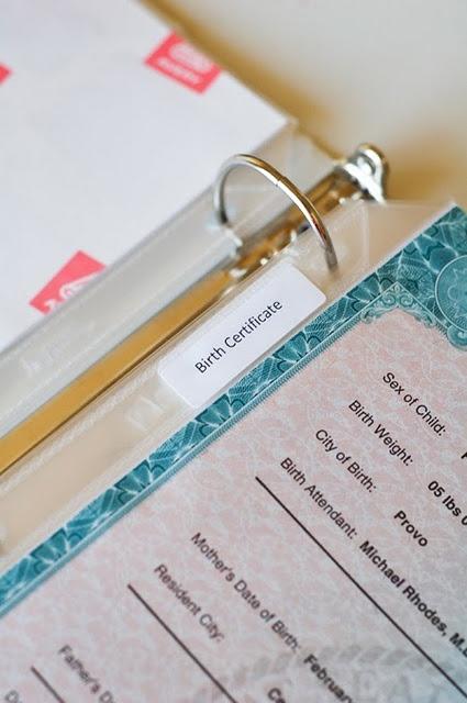 """Life Binder:"" One binder for each family member's important docum"
