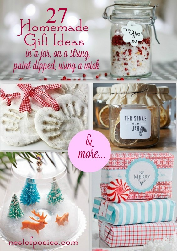 27 Homemade Gift Ideas in a jar, on a string, using a wick & more…via Nest