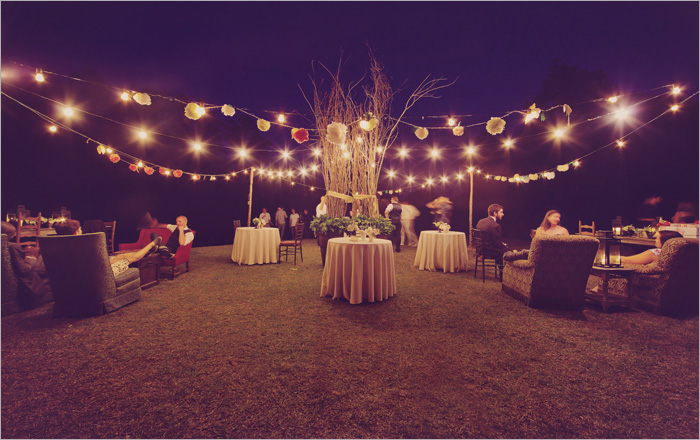 romantic outdoor wedding with lights