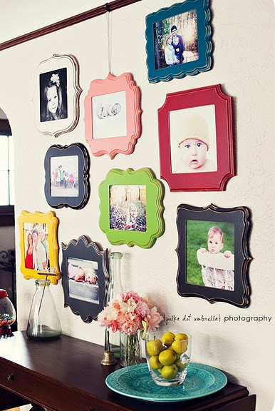 Buy the wood plaques at a craft store, paint and mod podge the pic onto them.> O