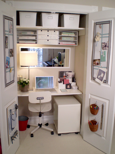 closet office design idea for a small master bedroom