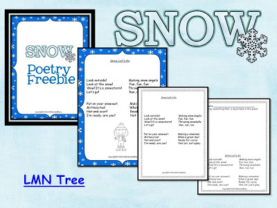 """LMN Tree: """"Snow, Let's Go!"""": A Free Fun Snow Poem to Get Your Clas"""