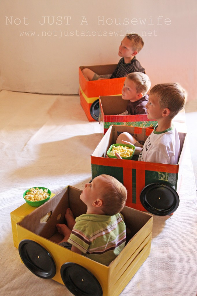 Drive-in movie cars….I can use all my leftover boxes!!!!
