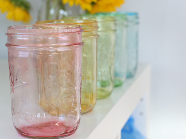 Dye mason jars with modge podge and food coloring! way easier than glass paint