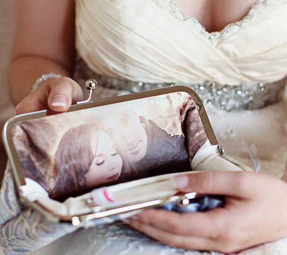Super unique idea for your engagement photos!  Custom Bridal Clutches!