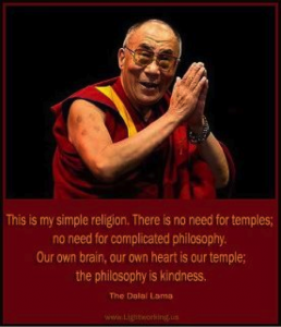 """""""This is my simple religion. There is no need for temples; no need for comp"""