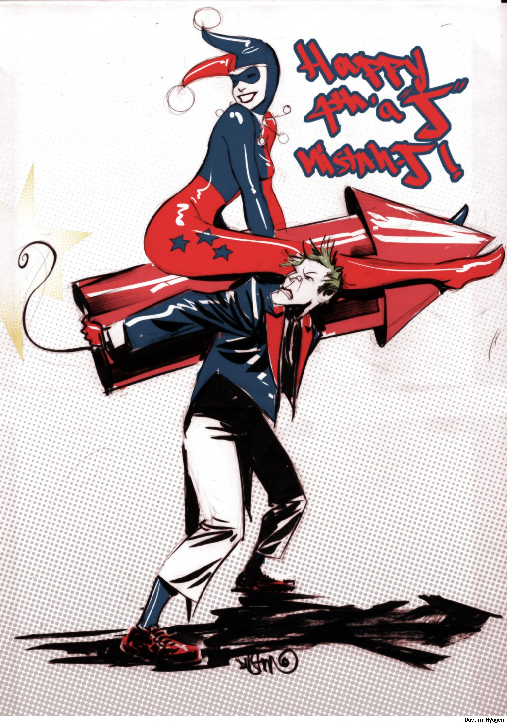 Happy Independence Day from The Joker, Harley Quinn and Dustin Nguyen