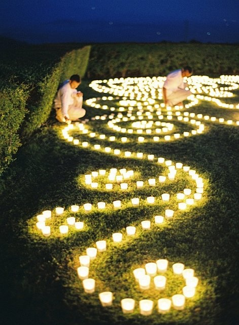 lights in an outdoor reception