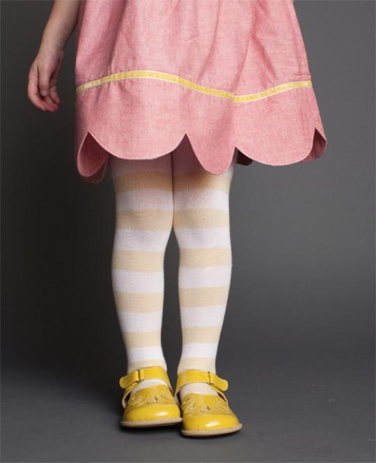 sweet scalloped hem & striped lemon tights