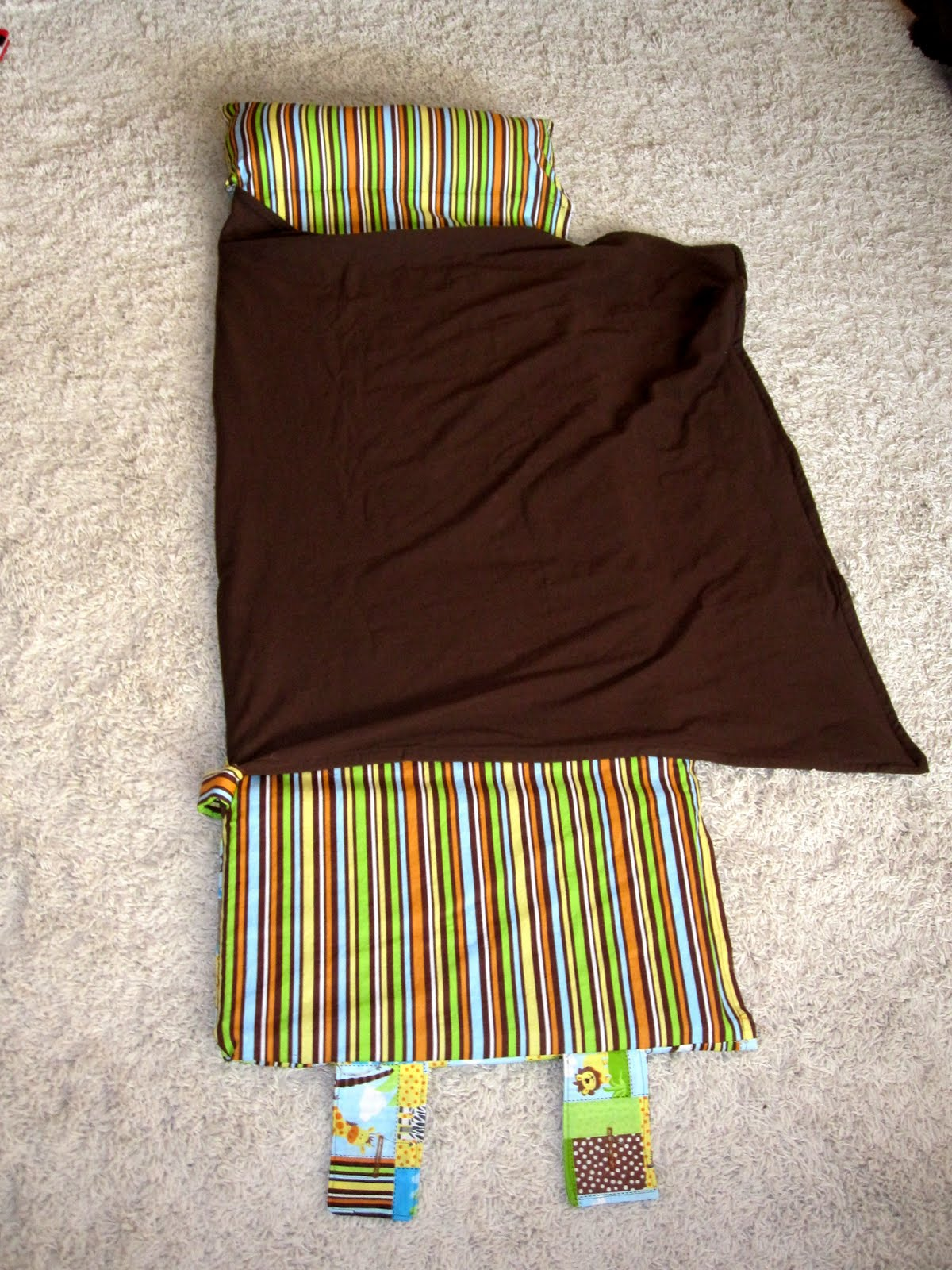 Nap mat with attached blanket and pillow.  Great tutorial PDF.