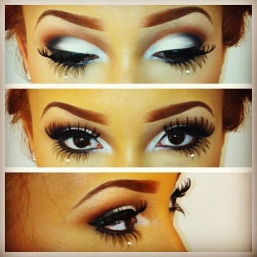 white eyeshadow.