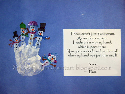 Handprint Snowman with Poem ~ Poem: These aren't just five snowmen, As anyon