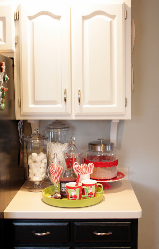 Hot chocolate bar during Christmas season….. Just leave it set up the whole ti