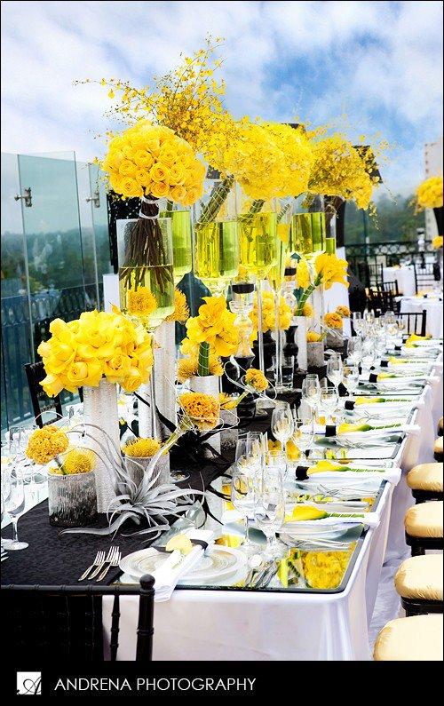 Beautiful yellow reception table setting