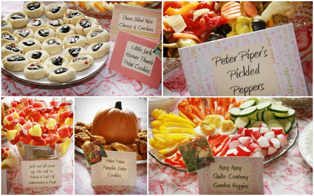 Nursery rhyme-themed baby shower foods