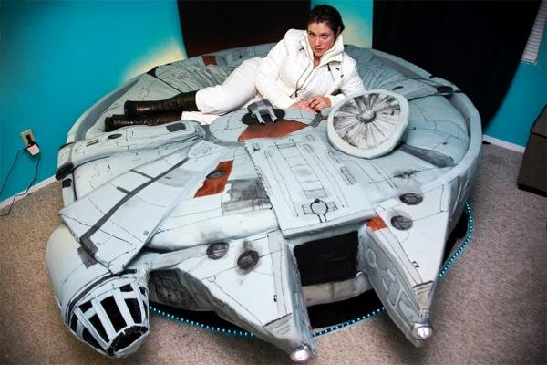 Star Wars Millennium Falcon bed. Princess Leia lookalike not included.