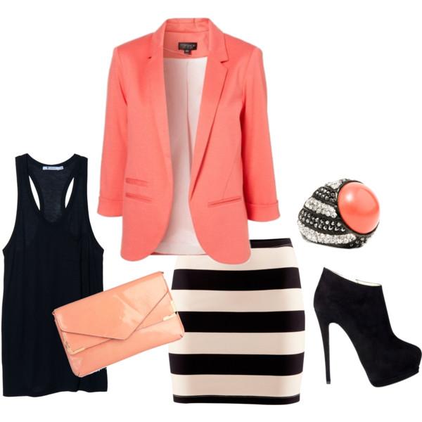 black tank + b/w striped pencil skirt + coral blazer… cute work outfit
