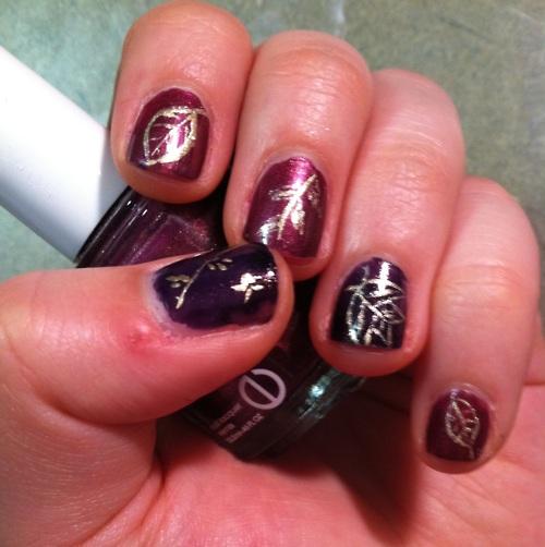 nails nails nails #leaves #fall nails #nail polish #essie #designs