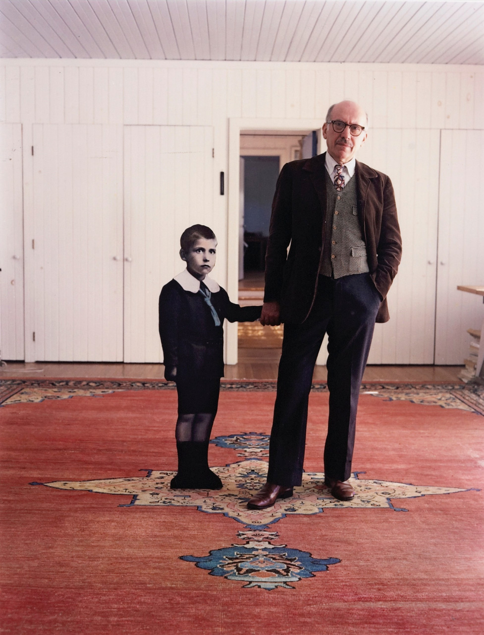 Saul Steinberg, with himself as a Little Boy, Long Island, 1978    photo by Evel