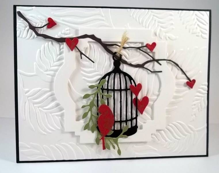 Judy's gorgeous hearts and bird with cage.