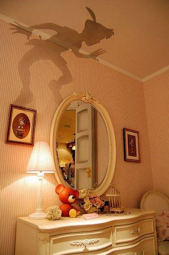 Peter Pan outline, cut out and put on top of lamp shade.   Too. Cool.