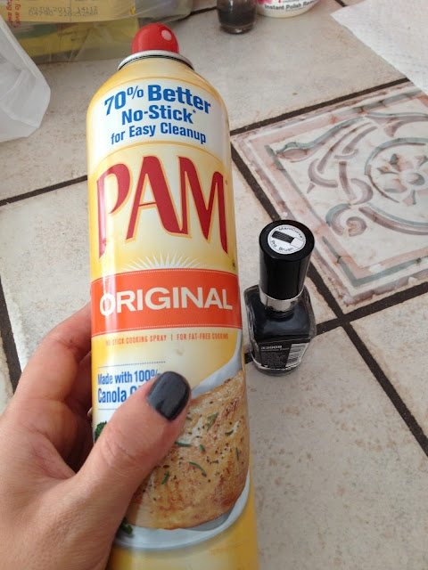 Spray PAM on wet nails, wipe it off, they're completely dry! No way.. from R