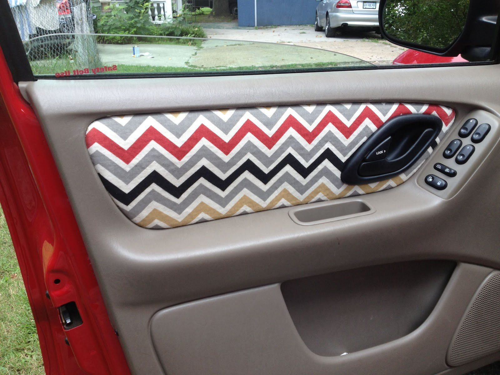DIY cute fabric to cover worn-out, faded, or melted standard fabric in your car.