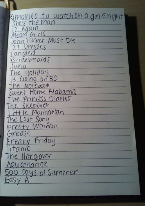 Movies to watch on a girls night. I love these!