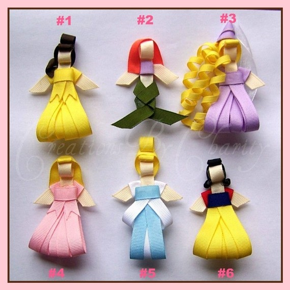 Disney Princess Hair Bow Clips Ribbon by creationsbycharity, $30.00