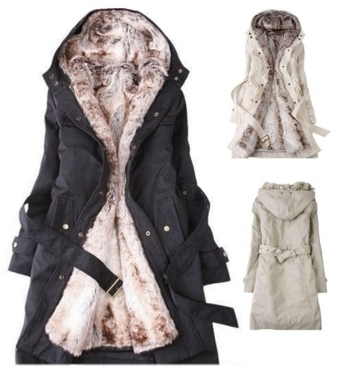Women's Detachable Faux Fur Lining Winter Coat