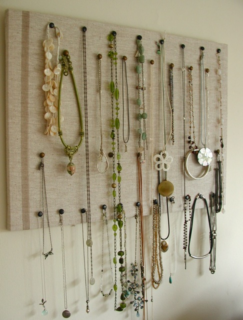 Easy jewelry board.  You could even re-cover an old canvas (from those awful sch