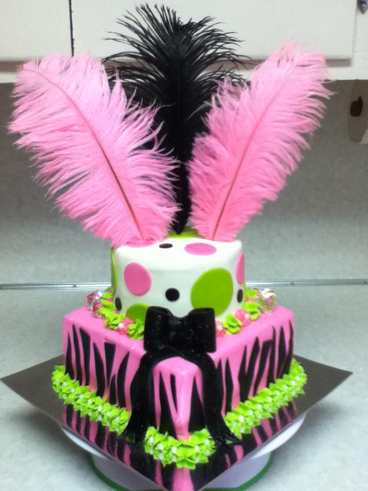 Love this! Zebra Striped Cake with Feathers!